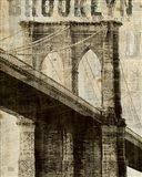 Vintage NY Brooklyn Bridge Art Print