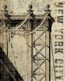 Vintage NY Manhattan Bridge Art Print