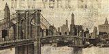 Vintage NY Brooklyn Bridge Skyline Art Print