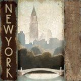 City Skyline New York Vintage Square Art Print