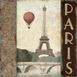 City Skyline Paris Vintage Square Art Print