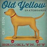 Golden Dog on Skateboard Art Print