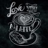 Love You a Latte  No Border Square Art Print
