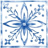 Tile Stencil I Blue Art Print