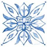 Tile Stencil II Blue Art Print