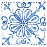 Tile Stencil IV Blue Art Print