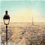 Eiffel Landscape Letter Blue I Art Print
