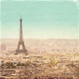 Eiffel Landscape Letter Blue II Art Print