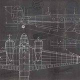 Plane Blueprint II Art Print