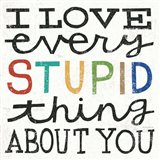 I Love Every Stupid Thing About You Art Print