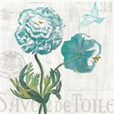 Floral Messages on Wood I Blue Art Print