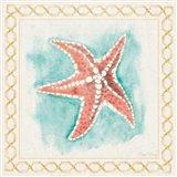 Coastal Mist Starfish Border Turquoise Art Print