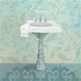 Damask Bath Sink Art Print