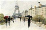 Eiffel in the Rain Marsala Umbrella Art Print