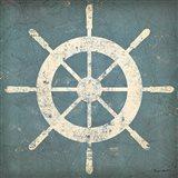 Nautical Shipwheel Blue Art Print