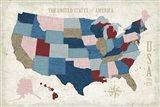 USA Modern Vintage Blue Art Print