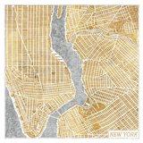 Gilded New York  Map Art Print