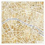 Gilded Paris Map Art Print
