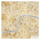 Gilded London Map Art Print