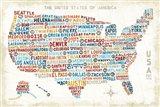 US City Map Art Print