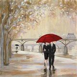 Romantic Paris III Red Umbrella Art Print