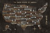 US City Map Black Art Print