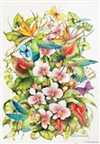 Orchid Splendor with Birds Art Print