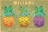 Island Time Pineapples Welcome Art Print