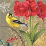 Winter Birds Goldfinch Collage Art Print