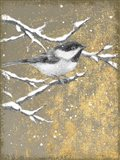 Winter Birds Chicadee Neutral Art Print
