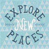 Mod Triangles Explore New Places Blue Art Print