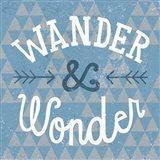 Mod Triangles Wander and Wonder Blue Art Print