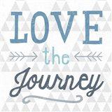 Mod Triangles Love the Journey Blue Art Print