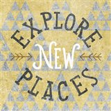 Mod Triangles Explore New Places Gold Art Print