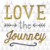 Mod Triangles Love the Journey Gold Art Print