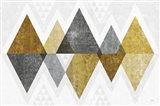 Mod Triangles II Gold Art Print