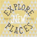 Mod Triangles Explore New Places Retro Art Print