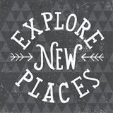 Mod Triangles Explore New Places Art Print