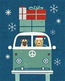 Holiday on Wheels XII Navy Art Print