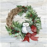 Holiday Wreath II on Wood Art Print