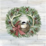 Holiday Wreath IV on Wood Art Print