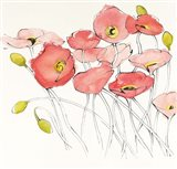 Black Line Poppies I Watercolor Art Print