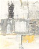 Gray and Yellow Blocks II White Art Print