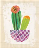 Collage Cactus II on Graph Paper Art Print