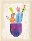 Collage Cactus III on Graph Paper Art Print