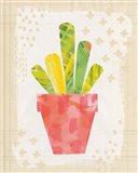 Collage Cactus VI on Graph Paper Art Print