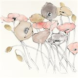 Black Line Poppies I Watercolor Neutral Art Print