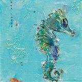Little Seahorse Blue Art Print