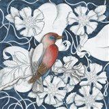 Arts and Crafts Bird Indigo I Art Print