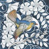 Arts and Crafts Bird Indigo III Art Print